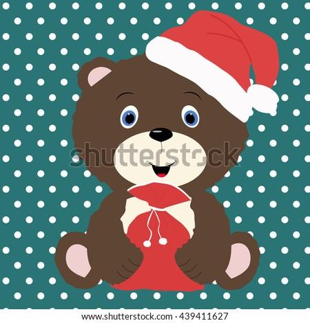 christmas bear with gift bag