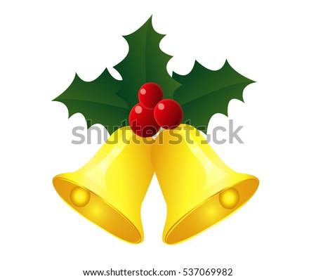 christmas bell christmas golden bell white background - Christmas Bell