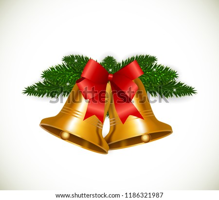 Christmas Bell with Red Bow Vector Illustration EPS10