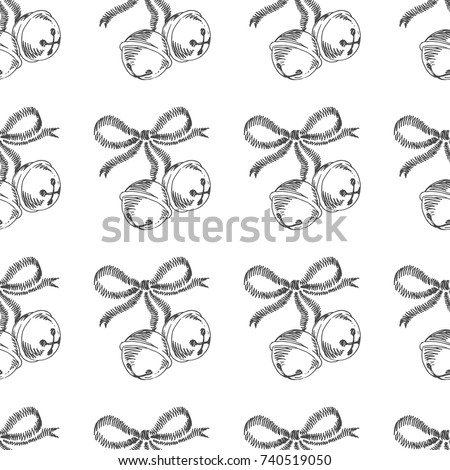 Stock Photo Christmas bells. Vector seamless pattern with hand drawn symbols of New Year. Winter holiday texture