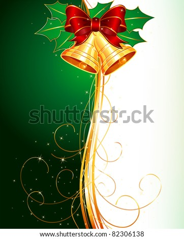 Christmas bells with holly and bow on green background