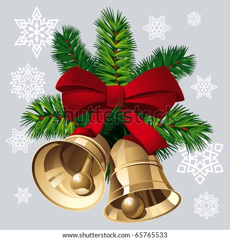 Christmas Bells with Red Ribbon, Pine Twigs and Snowflakes. Vector Illustration