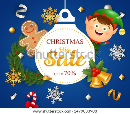 Christmas Big Sale design with Santa boy and ginger bread man on dark blue background. Up to seventy percent lettering can be used for posters, leaflets, announcements