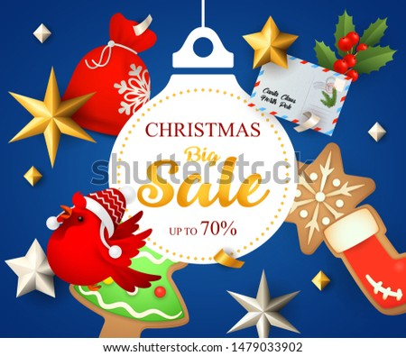 Christmas Big Sale poster design with ginger bread man and cookies on dark blue background. Up to seventy percent lettering can be used for posters, leaflets, announcements