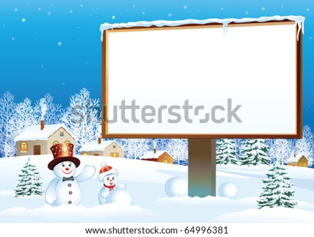 christmas billboard with snowman