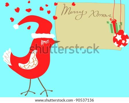 christmas bird carrying xmas card