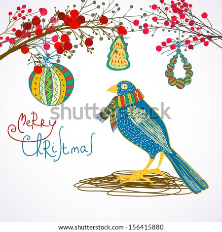 Stock Photo Christmas bird under decorated branches