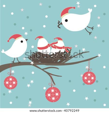 christmas birds family for