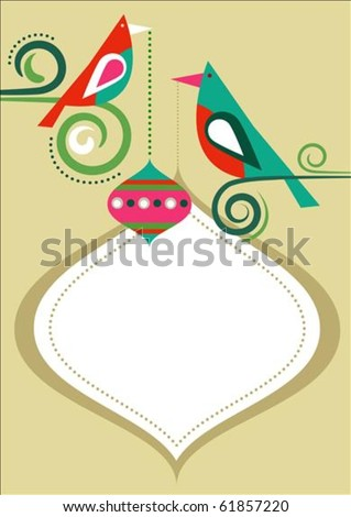Christmas birds greeting card template with copy-space