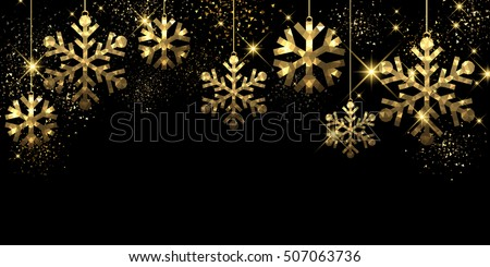 Christmas black background with golden snowflakes. Vector illustration.