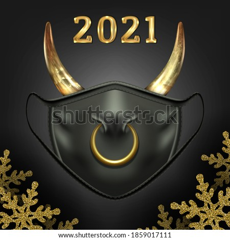 Christmas black face mask, symbol of New Year of the bull 2021.New reality. With nose ring and cow horns. On a dark background with shiny snowflakes. Vector.