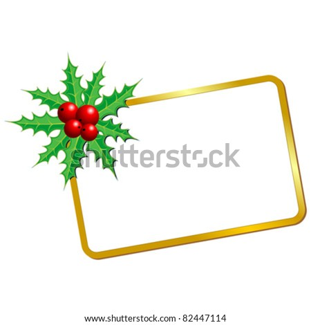 Christmas blank card with holy over white background