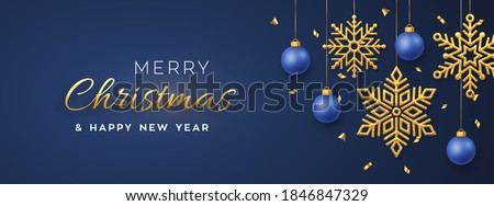 Christmas blue background with hanging shining golden snowflakes and balls. Merry christmas greeting card. Holiday Xmas and New Year poster, web banner. Vector Illustration.