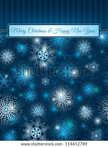 christmas blue background with snowflakes,  vector illustration EPS10. Contains transparent objects