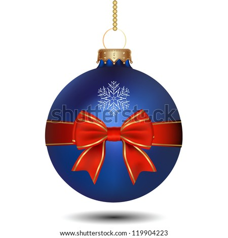 Christmas blue ball with bow