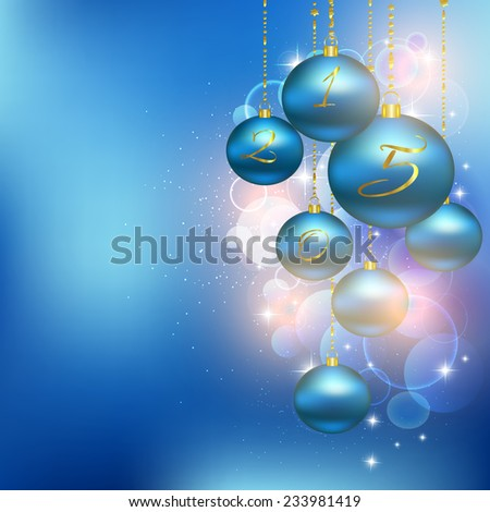Christmas blue balls. Vector illustration of holiday, Christmas tree decorations, menu, card, postcard, banner. Hanging a bunch of Christmas tree decorations.