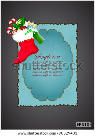 Christmas boots on grungy blue sheet and dark background - stock vector
