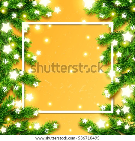 christmas border card design happy new year xmas with glowing star lights