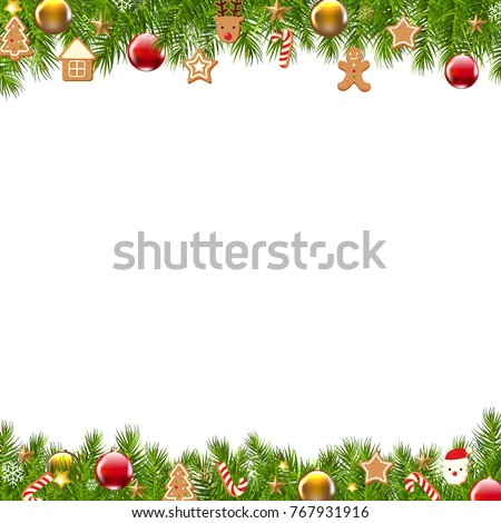 Christmas Border Fir Tree With Gradient Mesh, Vector Illustration