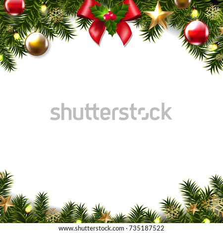 Christmas Border Gradient Mesh Vector Illustration #735187522