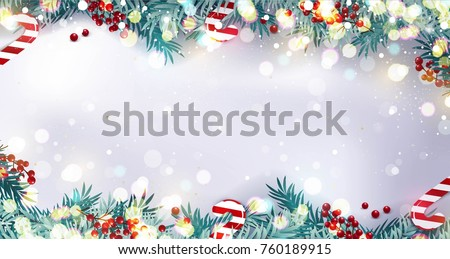 Christmas border or frame with fir branches, berries and candy isolated on snowy background. Vector illustration