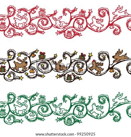 stock vector : Christmas border seamless vector