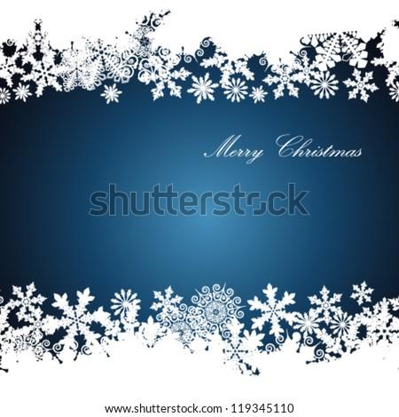 Christmas border, snowflake design background. - stock vector