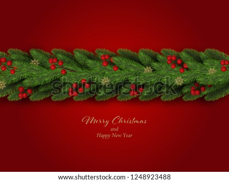 Christmas border. Winter holiday background with decorative border of realistic christmas tree branches with red berries and snowflakes. Vector illustration #1248923488