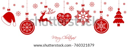 Christmas border with christmas decorations and elements #760321879