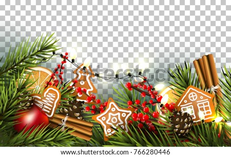 Christmas Border With Fir Branches Traditional Decorations And Gingerbreads On Transparent Background