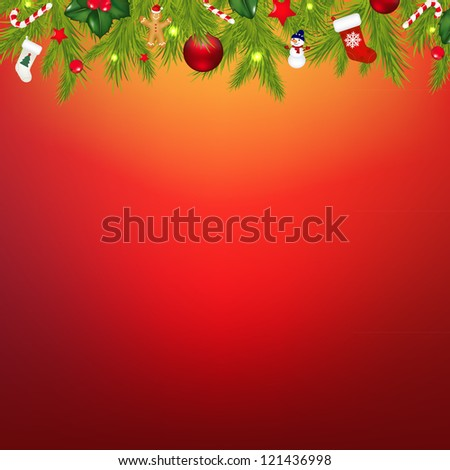 Christmas Border With Garland, With Gradient Mesh, Vector Illustration