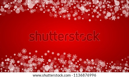 Christmas border with white snowflakes on red background. Santa Claus colors. Horizontal Merry Christmas border for season sales, banners, invitations, retail offers. Falling snow. Frosty winter back. #1136876996
