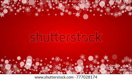 Christmas border with white snowflakes on red background. Santa Claus colors. Horizontal Merry Christmas border for season sales, banners, invitations, retail offers. Falling snow. Frosty winter back. #777028174