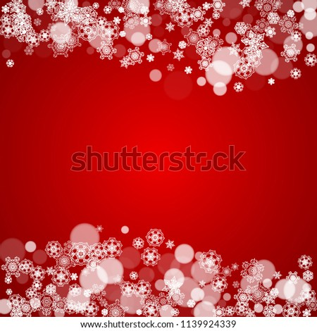 Christmas border with white snowflakes on red background. Santa colors and mood. Merry Christmas border for season sales, banners, invitations, retail offers. Falling snow. Frosty winter backdrop. #1139924339