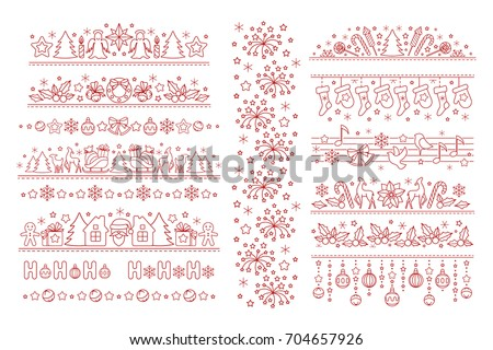 Christmas borders from line art icons. Horizontal dividers with linear winter holiday symbols and objects