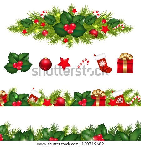 Christmas Borders Set With Xmas Garland, Isolated On White Background With Gradient Mesh, Vector Illustration