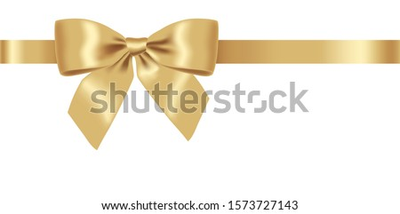 Christmas bow, realistic ribbon, isolated decoration, happy holiday, merry christmas, white background vector illustration