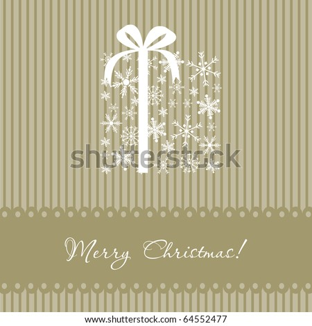 Christmas box. Vector card