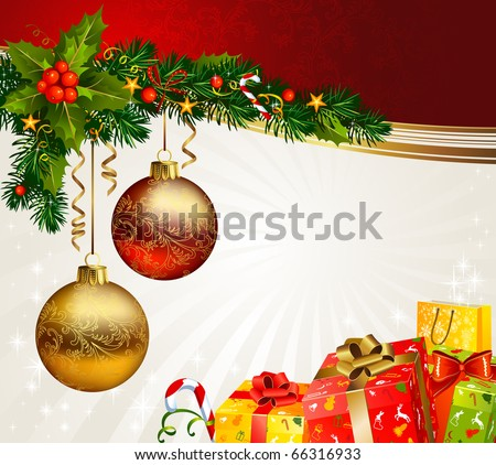 Christmas boxes under a branch of fir-tree