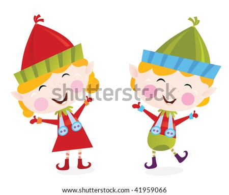 Stock Photo Christmas boy and girl elves. Cute small elves in christmas costumes. Vector cartoon illustration.