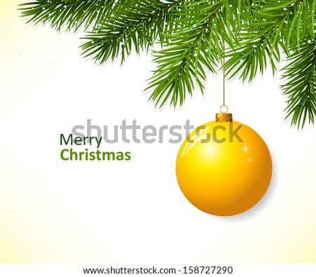 Christmas branch with hanging christmas ball
