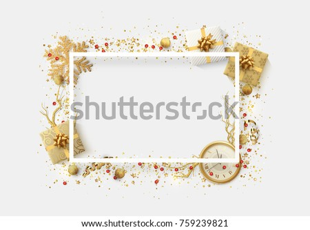 Christmas bright background with golden Xmas decorations. Merry christmas greeting card. Glitter gold composition. Happy New Year. Elegant Holiday Frame