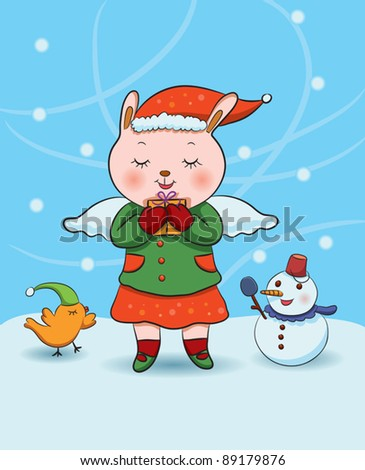 Christmas Bunny Angel - stock vector