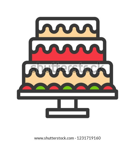 christmas cake for party icon editable line