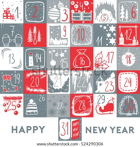 christmas calendar and poster