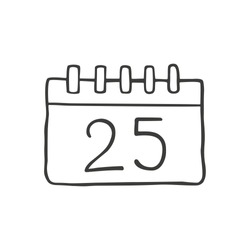 Christmas calendar  in doodle sketch style. Vector illustration.