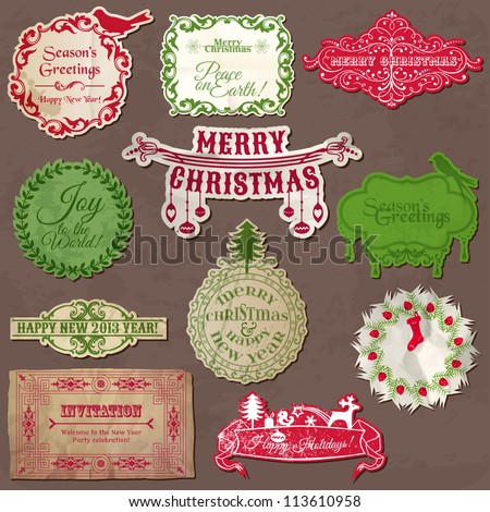 Christmas Calligraphic Design Elements and Vintage Frames - in vector