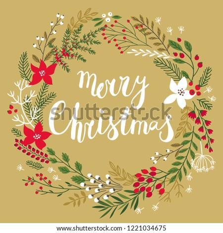 """Christmas Callygraphic floral Wreath - hand drawn Vector illustration.Handwritten lettering """"Merry Christmas"""""""