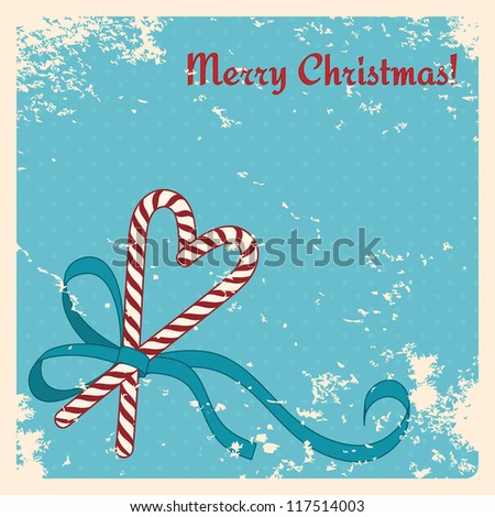 Christmas candies cane with ribbon - vintage christmas card