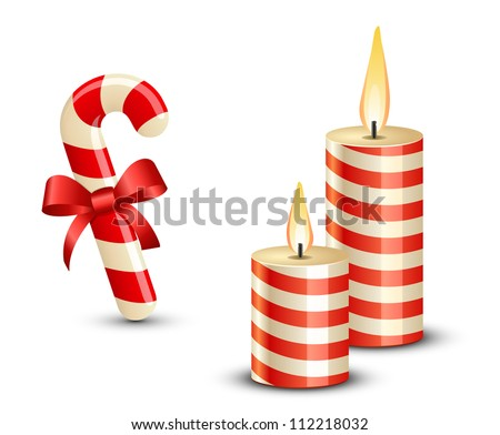 Christmas Candy Cane and Candles. Vector illustration - stock vector